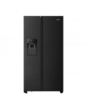 Hisense PureFlat RS694N4TFF American-Style Fridge Freezer, Black