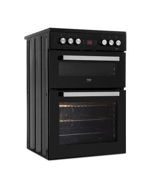 Beko XDC653K 60 cm Electric Ceramic Cooker, Black & Silver
