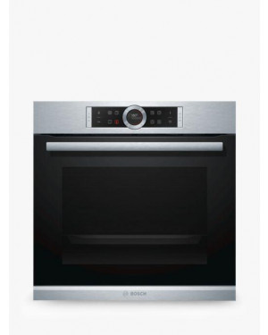Bosch Serie 8 HBG674BS1B Built In Electric Single Oven, Brushed Steel