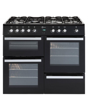 Flavel Milano 100 MLN10FRK Dual Fuel Range Cooker, Black & Chrome
