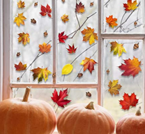 Leaf sticker window display with pumpkins
