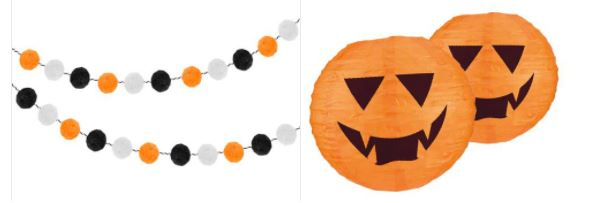 Pumpkin and halloween decorations, orange and black