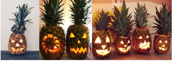 Carved Pineapples, pineapples carved with spooky faces for Halloween.