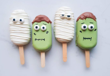 Cute Halloween Cakesicles, Halloween zombie and mummy cakepops