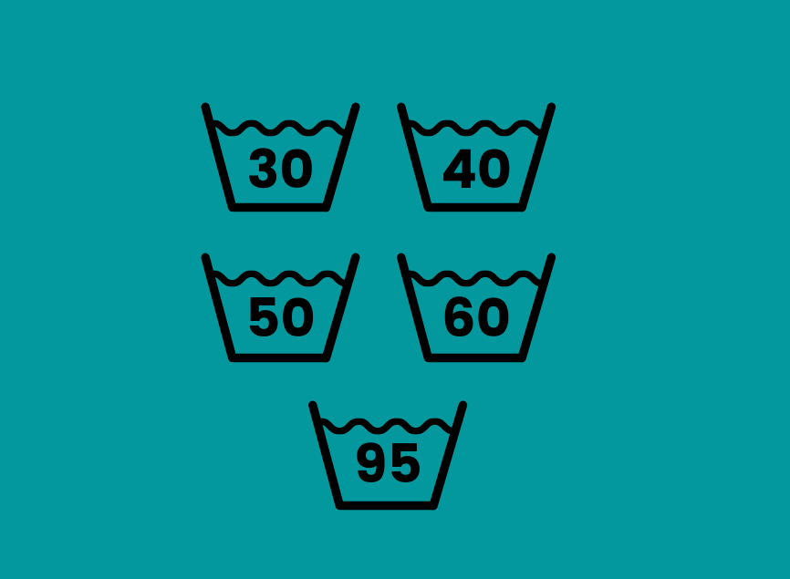 Washing symbols from clothes showing temperatures of water