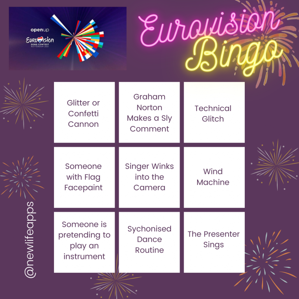 Bingo Style Card with ideas to mark off when spotted on Eurovision