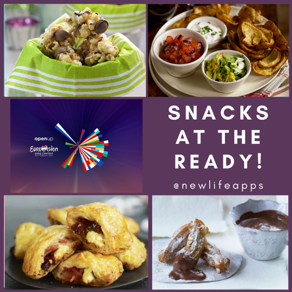 Group of perfect snack selection photos, with the text Snacks at the ready for Eurovision 2021